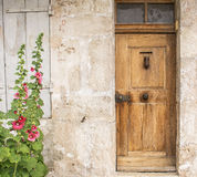 Gammal dörr och malva Royaltyfri Foto
