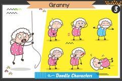 Gammal dam Characters Different Poses för tecknad film och ansiktsuttryckvektoruppsättning Royaltyfria Bilder