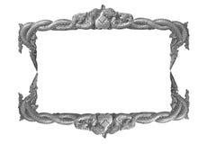 Gammal dekorativ handgjord grå färgram -, inristat - som isoleras på vit bakgrund arkivbilder