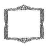 Gammal dekorativ handgjord grå färgram -, inristat - som isoleras på vit bakgrund arkivfoto