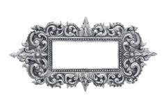 Gammal dekorativ handgjord silverram -, inristat - som isoleras på w fotografering för bildbyråer