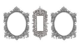 Gammal dekorativ handgjord silverram -, inristat - som isoleras på w arkivbilder