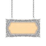Gammal dekorativ teckenram med den handgjorda kedjan -, inristat - isolator royaltyfri fotografi