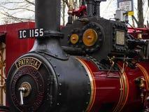 Gammal 1917 detalj för motor för Burrell ångadragkraft, Patricia royaltyfri foto