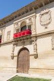 Gammal detalj för rättvisahus- och arrestfasad, nu stadshus, Baeza, royaltyfria bilder