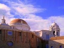 Gammal domkyrka av Cadiz eller kyrkan av Santa Cruz fotografering för bildbyråer