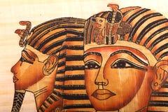 Gammal egyptisk konung Tut Mask på papyruset stock illustrationer