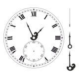 Gammal elegant mall för klockaframsida med tal och pilar stock illustrationer