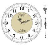 Gammal elegant mall för klockaframsida med tal och pilar Royaltyfri Bild