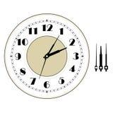 Gammal elegant mall för klockaframsida med tal och pilar Royaltyfria Bilder