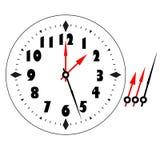 Gammal elegant mall för klockaframsida med tal och pilar Arkivfoto