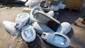 Gammal elektrisk delar och lighting&lamp, utbytesdelar Arkivfoton
