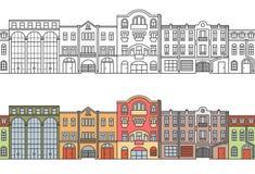 Gammal Europa stad gata seamless horisontalmodell vektor vektor illustrationer