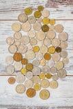 Gammal europeisk myntsamling Arkivbilder