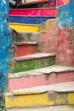 Gammal färgrik trappa Arkivfoto