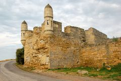 Gammal fästning av Yenikale i Krimet Efter 1699 arkivfoton