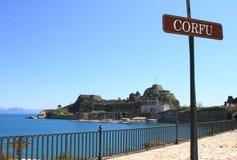 Gammal fästning i Corfu Arkivfoton