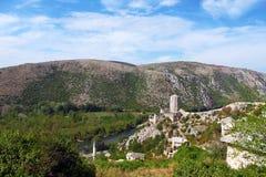 Gammal fästning i Pocitelj, Bosnien och Hercegovina Royaltyfri Bild