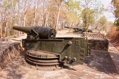 Gammal fästning med gamla kanoner i Vung Tau Mountain - Vietnam Fotografering för Bildbyråer