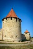 Gammal fästning på floden Dniester i stadböjapparaten, Transnistria Stad inom gränserna av Moldavien under av kontrollunrecognien Royaltyfri Bild