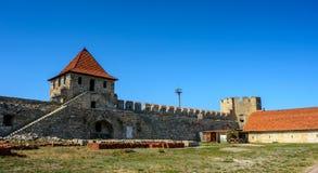 Gammal fästning på floden Dniester i stadböjapparaten, Transnistria Stad inom gränserna av Moldavien under av kontrollunrecognien Arkivbilder