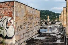 Gammal förfallen byggnad av parlamentet av Abchazien i Sukhumi Royaltyfria Foton