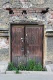 Gammal förfallen dörr som är bevuxen med gräs royaltyfria bilder