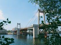 gammal förstörd bro över den Dnieper floden, i staden av Kiev Arkivfoto