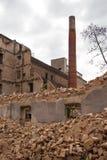 Gammal förstörd fabrik i Zagreb Arkivbilder