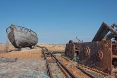 Gammal fartyg och vinsch Arkivbilder