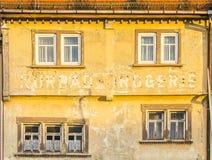Gammal fasad i dåliga Frankenhausen Arkivfoto