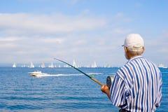 gammal fiskare Royaltyfria Bilder