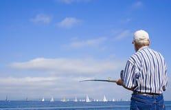 gammal fiskare Arkivfoto