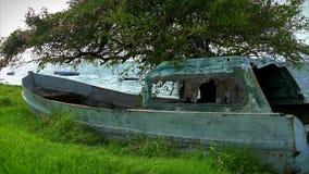 Gammal fiskebåt i blåsigt gräs längs shorelinen stock video