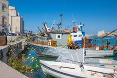 Gammal fiskebåt som parkeras i den italienska stadsporten arkivbild
