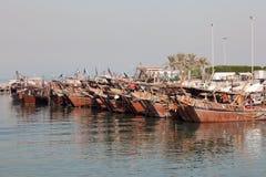 Gammal fiskeport i Kuwait City Arkivfoto