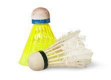 Gammal fjäderboll för badminton två Royaltyfria Bilder