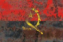 Gammal flagga för Angola grungebakgrund Fotografering för Bildbyråer