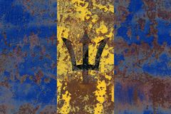 Gammal flagga för Barbados grungebakgrund Royaltyfri Bild
