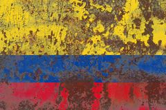 Gammal flagga för Colombia grungebakgrund Royaltyfria Bilder