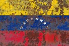 Gammal flagga för Venezuela grungebakgrund Royaltyfri Fotografi