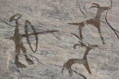 Gammal forntida petroglyph Royaltyfri Fotografi