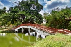 Gammal fot- bro i Ayutthaya Royaltyfri Fotografi