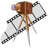 Gammal fotokamera med tripoden/tappning Royaltyfri Bild