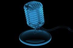 gammal framförd röntgenstråle för blå mircrophone 3d stock illustrationer