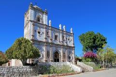 Gammal Franciscankyrka, Mision San Ignacio Kadakaaman, i San Ignacio, Baja California, Mexico Arkivfoto
