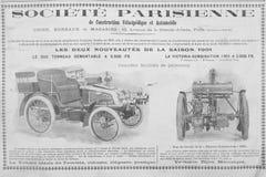 Gammal fransk annonsering omkring sent - 19 thårhundradebilar arkivbilder
