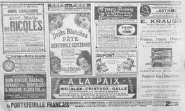 Gammal fransk publicitet från slutet av det 19th århundradet arkivbild