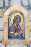 Gammal freskomålningmosaik på ingången till den ortodoxa kyrkan Royaltyfri Fotografi