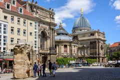 Gammal fyrkant i Dresden germany Royaltyfri Bild